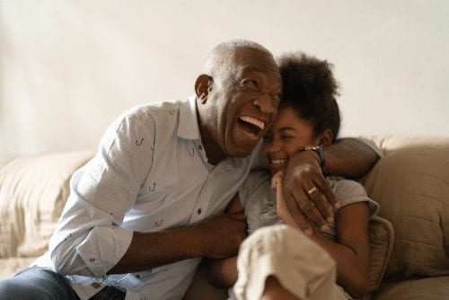 African-American senior and granddaughter