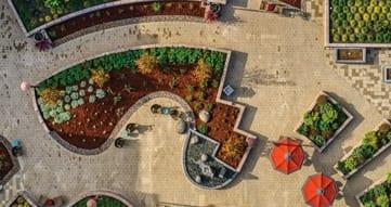 birds-eye view of viamonte outdoor space