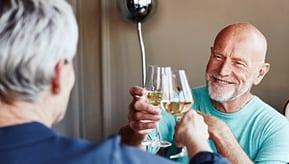 couple of seniors having wine together